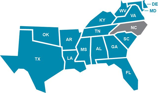 Map Of Georgia Florida And Alabama.Southern Regional Education Board